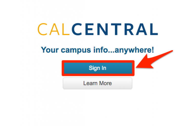 CalCentral Log-in Screen